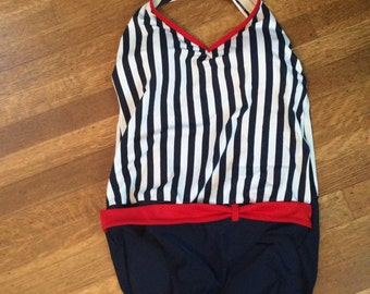 Vintage Swimsuit 1980's 1990's / Vintage Red White and Blue Swimsuit / Size 10