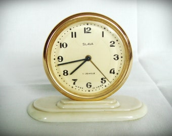 "Vintage mechanical alarm clock Russian ""Slava"" – ""Glory"""