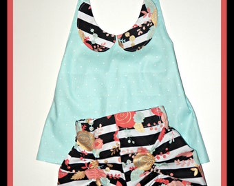 Rizzo Retro Shorts and Halter Top Black Stripes Coral Gold Floral Baby Toddler Girls
