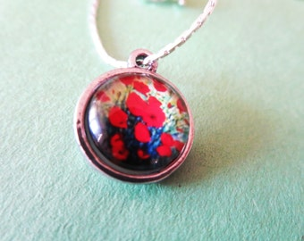 Red Poppy Necklace- Flower  Jewelry red poppy ring-red poppies jewelry