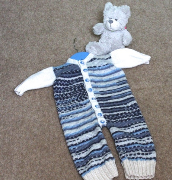 Knitted All In One Baby Suit Pattern : KNITTING PATTERN Baby Onesie Knitted Babygrow Newborn to 2 Years Boy Girl Uni...