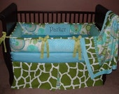 SALE! Custom Modpeapod Giraffe Zoo Animals Crib Baby Bedding Set ONLY ONE on sale and ready to ship