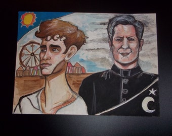Carnivale HBO Television Series Cult Show Tarot Fan Art Original Mixed Media Illustration ---- Ben and Brother Justin