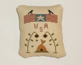 Completed Cross Stitch Primitive Patriotic Tuck Pinkeep