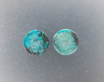 "Malachite Chrysocolla 9/16"",14mm Ear plugs one pair"