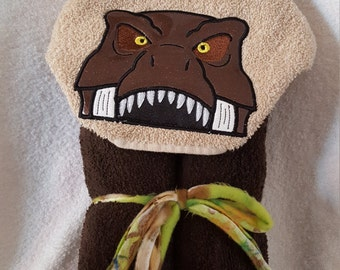 Dinosaur Hooded Towel, T-rex Dino Hooded Towel,  Hooded Towel