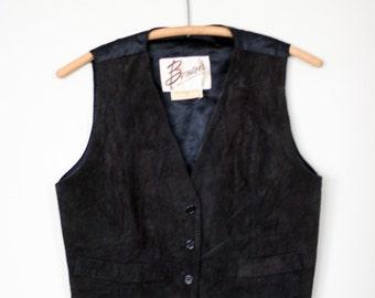 vintage black suede vest bermans womens size M