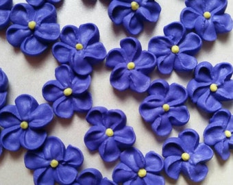 Mini purple royal icing flowers -- Edible cake decorations cupcake toppers edible (24 pieces)