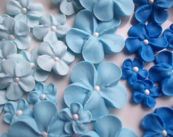 Shades of blue royal icing flowers -- Ombre -- Edible cake decorations cupcake toppers (24 pieces)