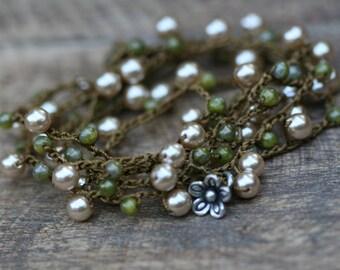 Boho Artisan Knotted Bracelet n78- acrylic thread . boho pearls Czech glass . pearls bracelet . tribal boho 70's festive . two in one . boho