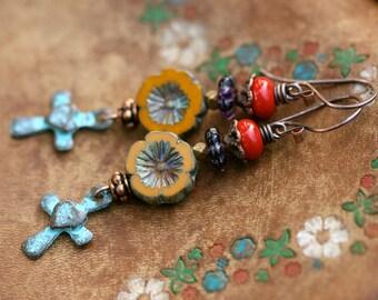 Rustic Bohemian * Redemption * earrings n.1 - religious joy . carved yellow flower . Czech flower earrings . garden Spring jewelry . cross