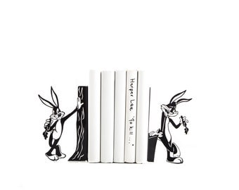 Metal Bookends Bugs Bunny // Book holders Looney Tunes inspired For your child's Favorite Books // nursery decor // Free Shipping Worldwide