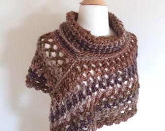 Brown Poncho with Cowl - Women's Poncho - Women's Capelet - Crochet Poncho with Cowl - Short Poncho - Winter Clothing - Crochet Poncho