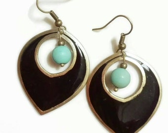 Tribal earrings Art deco earrings enamel Antique silver gypsy dangle earrings Ethnic earrings Vintage turquoise earrings peacock feather