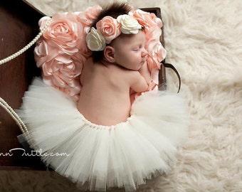 Newborn tutu set, Newborn tutu, Baby tutu set, Baby tutu, Baby photo prop,  ivory tutu set, newborn photography prop, photo prop, ivory tutu