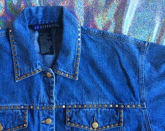 REDUCED TO SELL!! 1990s Gold Studded Jean Jacket // Size 8