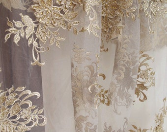 metallic gold lace fabric with rhinestones, gold lace fabric with embroidered floral, golden lace fabric by the yard for couture