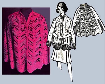 1970s Vintage CROCHET Cape PDF Pattern, Size Medium, 10-16 and Large, Size 18, To Be Made Using 4-ply Skeins, Size Adjusted by Hook Size