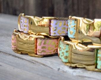 Coral Dog Collar, Gold Foil Leopard Print, Animal Print, Coral, Adjustable Dog Collar, Gold Metal Hardware
