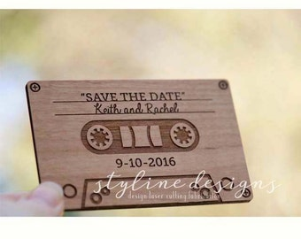 10+ Cassette Tape  Save the Date Magnets - Wedding Favors - Gift Tag - Laser cut and Etched on Wood