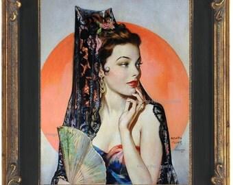 Art Deco Flapper Art Print 8 x 10 - Roaring 20s - Jazz Age - Glamourous Woman with Fan Fine Art Great Gatsy Art Nouveau