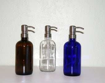 "Glass Soap Dispenser - 8oz with Metal Pump, Clear, Amber or Cobalt Blue with Stainless, Copper, Bronze or Brass Pump  - 2 1/4""  by 7"""