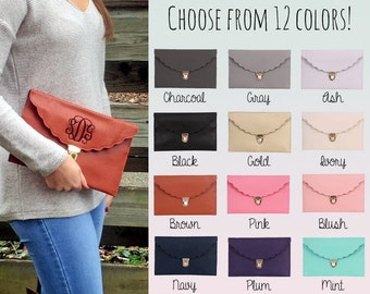 Personalized Envelope Clutch - Choose from 12 Colors - Scalloped Edge - Monogrammed Clutch - Gift