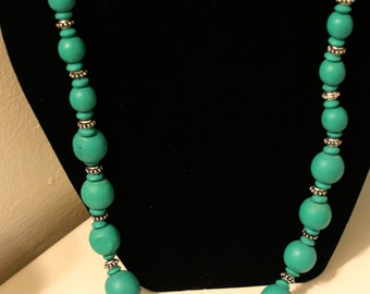 Green Wooden Bead Necklace