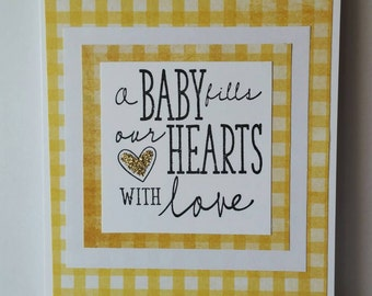 Yellow and Gold Welcome Baby Card