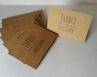 """Set of 6 """"Thanks a Million"""" Note Cards"""