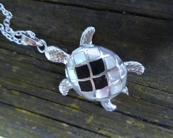 Turtle necklace,onyx necklace,black white turtle necklace,pearl turtle,pearl necklaces,turtle necklaces,black white turtle, turtle pendant
