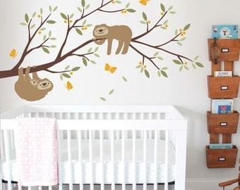 Sloth with Branch, Butterflies, Baby Nursery Wall Decal, Nursery Decoration