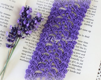 Crochet Bookmark Pattern, Purple Lace Bookmark or Edging, Lace Trim, Easy Crochet Pattern