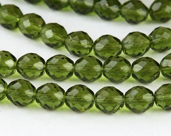 Olivine Czech Glass Beads, 10mm Faceted Round - 25 pcs - e5023-10