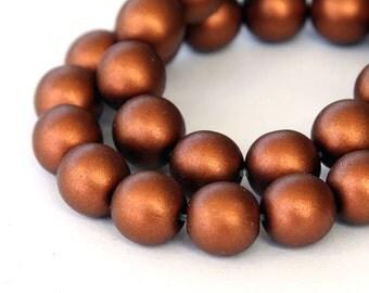 Matte Copper Czech Glass Beads, 10mm Round - 25 pcs - e0176-10r