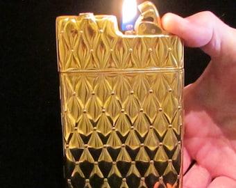 Vintage Evans Case Lighter 1940s Cigarette Case Cigarette Lighter Gold Tone with Original Pouch and Box Excellent Working Condition