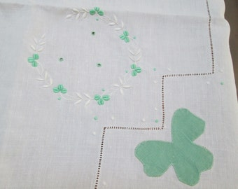 Vintage irish wedding cake tablecloth, shamrock delicate square table linen, vintage wedding table cloth linen green and white clover