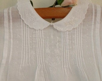 Vintage baby clothes,White Cotton Baby Dress, lace trimmed embroidered baby dress, shabby chic baby ,cottage baby clothes