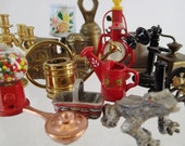 Metal Doll House Miniatures Large Lot cast iron pot metal enamel curio cabinet destash bell lamp frog Shell Gas Gumball Machine telephone