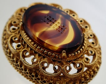 FREE Shipping Vintage Florenza Etched Oval Brooch Pin Brown Amber Art Cut glass Cabochon Decorative Filigree