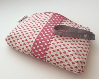 Dusky pink Valentine heart make up bag