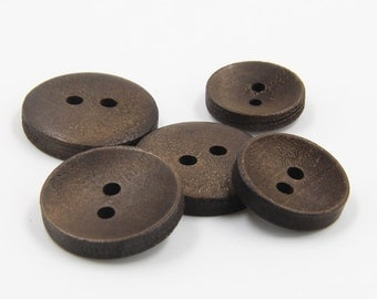 6 Pcs 0.51~0.79 Inches Natural Dark Brown 2 Holes Wood Shell Buttons For Shirts