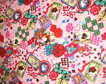 Pink Geisha Japanese Cotton Fabric, Kawaii Fabric, Cotton fabric By The Yard