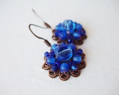 Handmade Blue Jewelry. Blue Earrings. Blue Dangle Earrings. Handmade Beaded Jewelry. Gift Ideas for Her. Vintage Style Jewelry Gifts