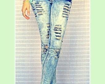 Ripped denim  Distressed Skinny Jeans On Sale