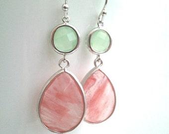 Coral Pink Wedding earrings, Coral Earrings, Drop,Dangle earrings, bridesmaid gifts, Gemstone,Bridal,Wedding jewelry,gift