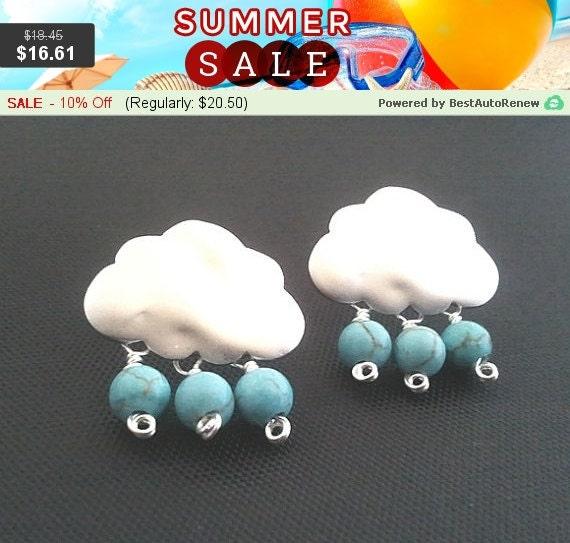 Cloud silver earring , 925 sterling silver post - Drop, Dangle, Glass Earrings, bridesmaid gifts,Wedding jewelry