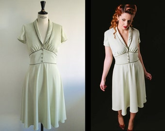1950's style dress/ pale green tea dress