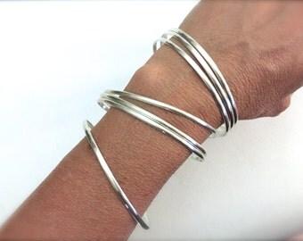Set of 7  handmade sterling silver bangle bracelets - half round bangles - set of bangles - 925 solid sterling silver - semanario -