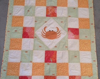 Crab Patchwork Quilted Throw